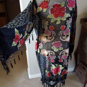 Other - Joplin velvet burn out beaded tassel kimono
